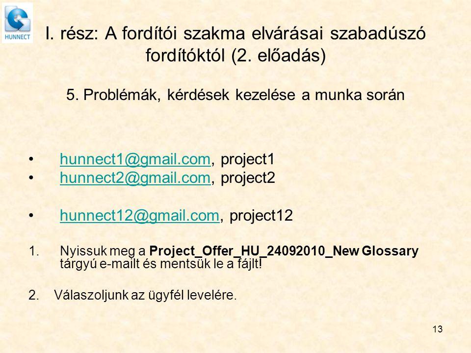 13 I. rész: A fordítói szakma elvárásai szabadúszó fordítóktól (2. előadás) 5. Problémák, kérdések kezelése a munka során hunnect1@gmail.com, project1