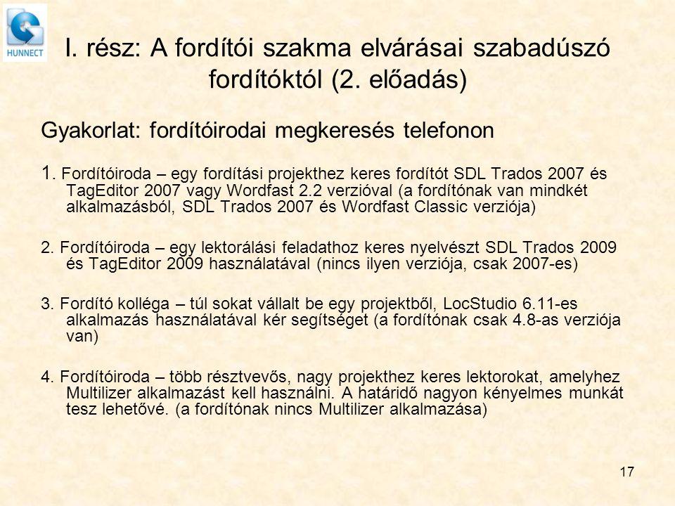 17 I. rész: A fordítói szakma elvárásai szabadúszó fordítóktól (2. előadás) Gyakorlat: fordítóirodai megkeresés telefonon 1. Fordítóiroda – egy fordít