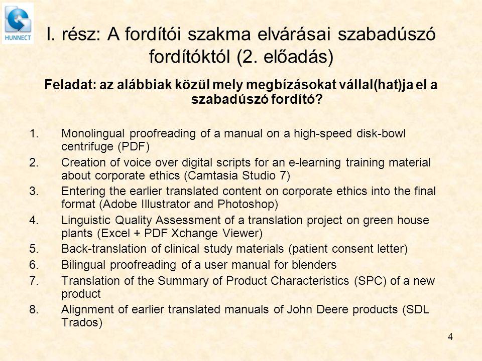 4 I. rész: A fordítói szakma elvárásai szabadúszó fordítóktól (2. előadás) Feladat: az alábbiak közül mely megbízásokat vállal(hat)ja el a szabadúszó
