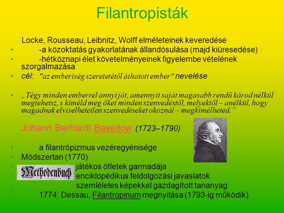 Locke, Rousseau, Leibnitz, Wolff elméleteinek keveredése -a közoktatás gyakorlatának állandósulása (majd kiüresedése) -hétköznapi élet követelményeine
