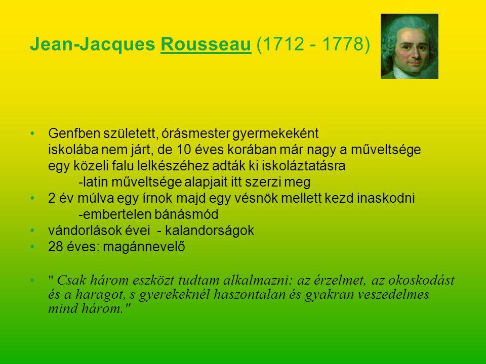 filozófusokkal barátkozik beszáll az Enciklopédia zenei szócikkeinek megírásába 1749: dijoni Akadémia pályadíja A becsület a tudatlanság gyermeke, a tudomány és az erény összeférhetetlenek. 1754: újabb értekezés az emberi egyenlőtlenség okairól -életreszóló ellenfele lesz: Voltaire 1762: Emil, avagy a nevelésről -pedagógiai regény -heves reakciók övezik a munkát, de nem a pedagógiai, hanem a természetvallás -gondolatai miatt - A könyv Rousseau egészséges életről alkotott eszményén alapul.
