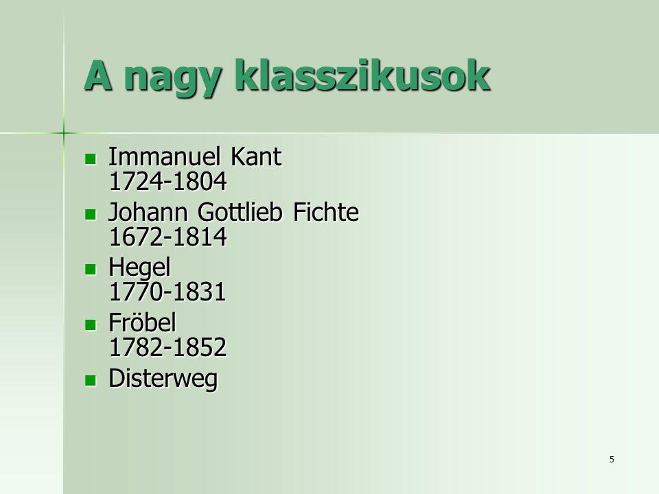 5 A nagy klasszikusok Immanuel Kant 1724-1804 Immanuel Kant 1724-1804 Johann Gottlieb Fichte 1672-1814 Johann Gottlieb Fichte 1672-1814 Hegel 1770-1831 Hegel 1770-1831 Fröbel 1782-1852 Fröbel 1782-1852 Disterweg Disterweg