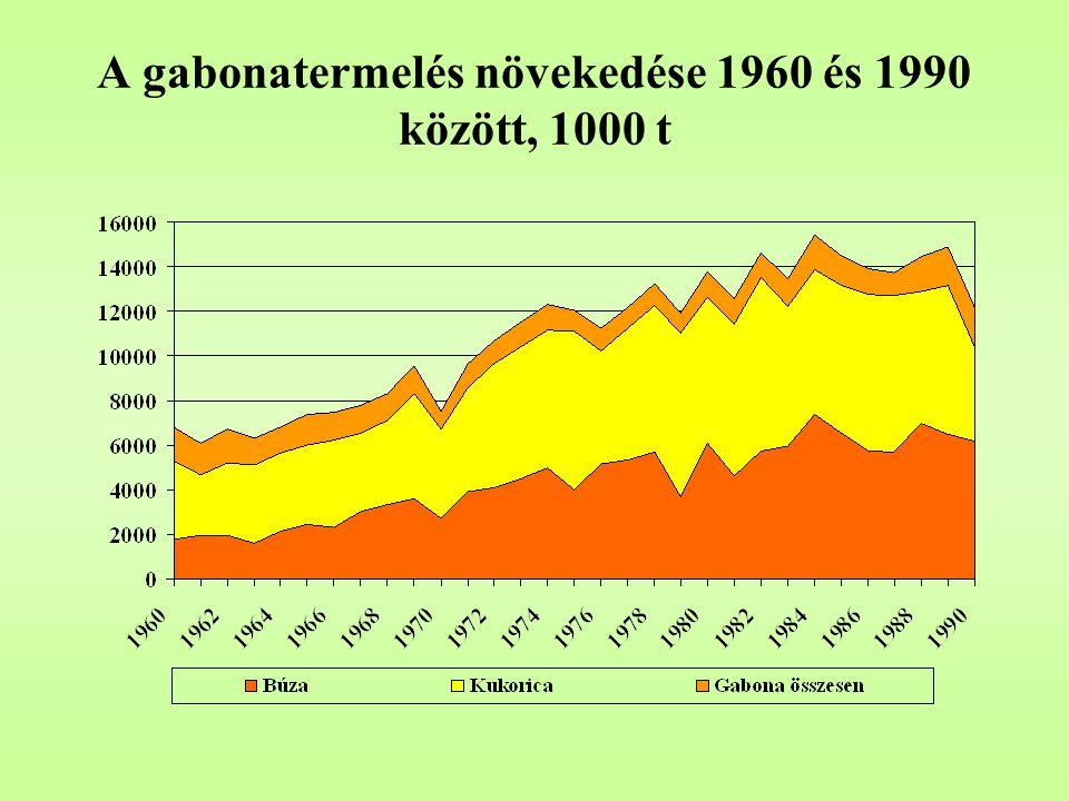 A gabonatermelés növekedése 1960 és 1990 között, 1000 t