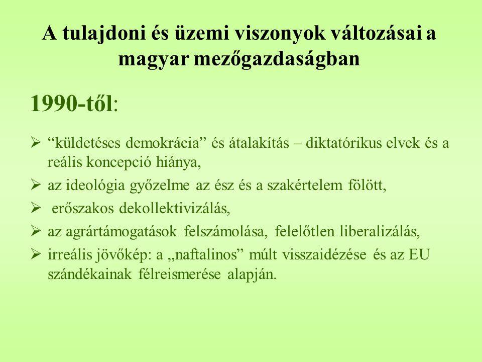 """A tulajdoni és üzemi viszonyok változásai a magyar mezőgazdaságban 1990-től:  """"küldetéses demokrácia"""" és átalakítás – diktatórikus elvek és a reális"""