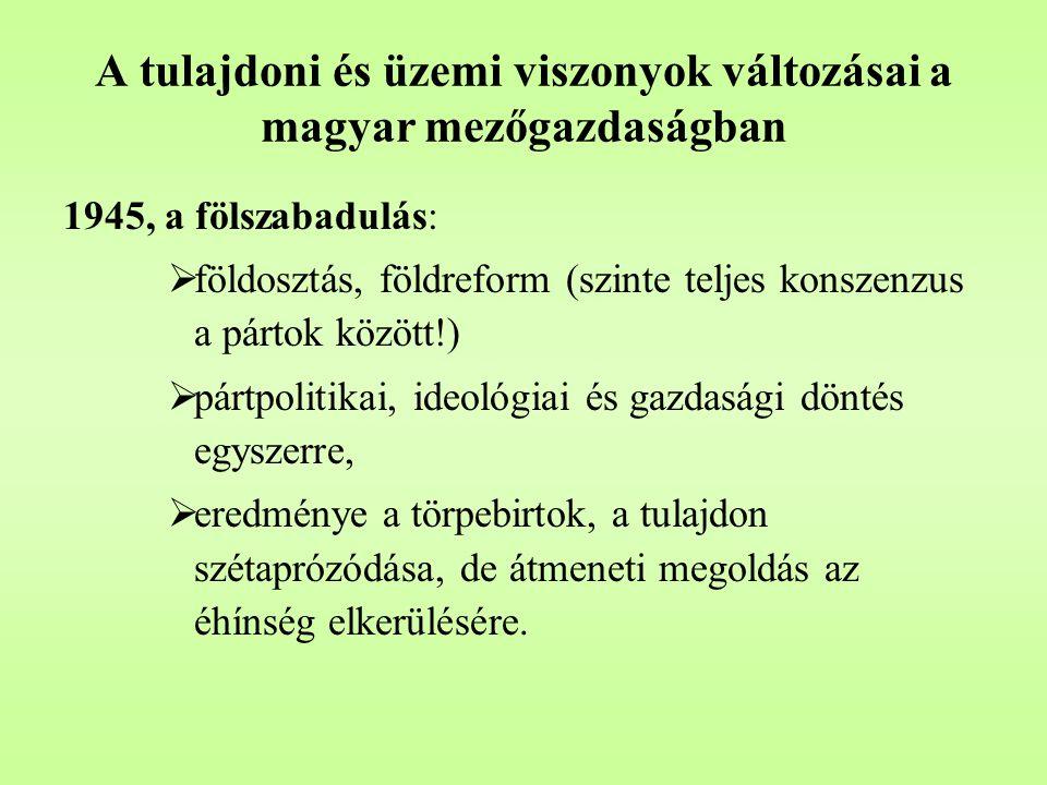 A tulajdoni és üzemi viszonyok változásai a magyar mezőgazdaságban Nemzeti parasztpárt javaslata 1945 március 17-18:  1000 kh feletti úri birtokot teljes egészében, az ingatlanokat is  1000 kh alatt 100 kh-t meghagytak a birtokosnak  200 kh alatti egyházi birtokok mentesültek  Erdők 100 %-a állami tulajdonba  földosztás min.