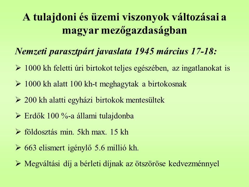 """A tulajdoni és üzemi viszonyok változásai a magyar mezőgazdaságban 1949-1956, a kommunista agrárpolitika:  szovjet mintájú, erőszakos kollektivizálás,  Szövetkezeti arány 60 %, állami gazdaság 6 %  a gazdasági racionalitás és az ideológia konfliktusa,  átmeneti enyhülés az első Nagy Imre vezette kormány idején (1953), a reformok kezdete,  """"aszály és """"kuláklisták (25 kh felett) , kimagyarázkodás és bűnbakkeresés,  az irányítás eszköze a kötelező beszolgáltatási rendszer (78,2 %) a """"tiszta tervgazdaság csődje,  a végkifejlet: az 1956-os forradalom."""