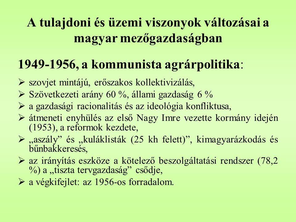 """A tulajdoni és üzemi viszonyok változásai a magyar mezőgazdaságban 1990-től:  küldetéses demokrácia és átalakítás – diktatórikus elvek és a reális koncepció hiánya,  az ideológia győzelme az ész és a szakértelem fölött,  erőszakos dekollektivizálás,  az agrártámogatások felszámolása, felelőtlen liberalizálás,  irreális jövőkép: a """"naftalinos múlt visszaidézése és az EU szándékainak félreismerése alapján."""