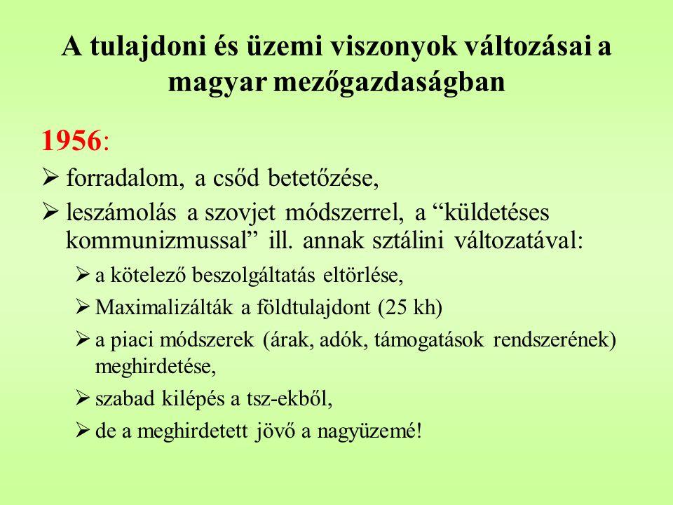 """A tulajdoni és üzemi viszonyok változásai a magyar mezőgazdaságban 1956 után, 1966-ig:  új agrárpolitika, szakítás a sztálini agrármodellel ,  1959-1961: teljes kollektivizálás, a kényszer és a támogatás jegyében,  a magyar modell építgetése:  háztáji gazdaságok,  a tervutasítások lebontása,  növekvő vállalati önállóság,  a """"szocialista piacgazdaság kísérleti területe."""