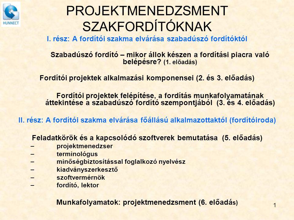 PROJEKTMENEDZSMENT SZAKFORDÍTÓKNAK I. rész: A fordítói szakma elvárása szabadúszó fordítóktól Szabadúszó fordító – mikor állok készen a fordítási piac