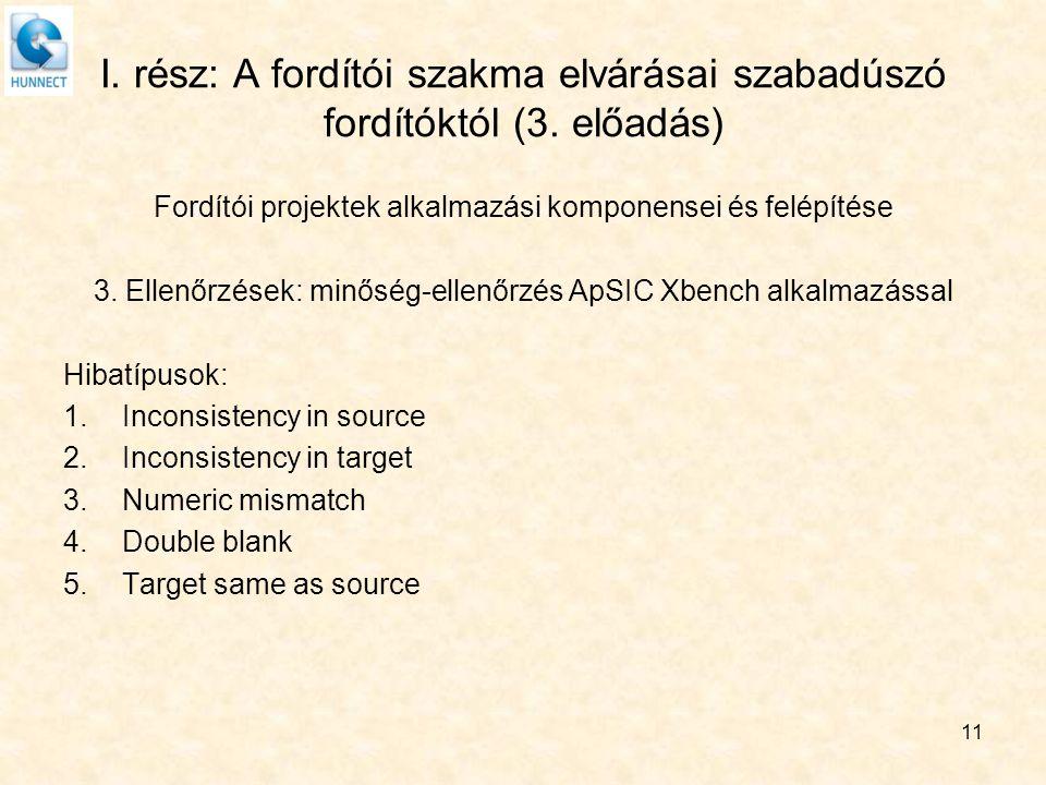 I. rész: A fordítói szakma elvárásai szabadúszó fordítóktól (3. előadás) Fordítói projektek alkalmazási komponensei és felépítése 3. Ellenőrzések: min