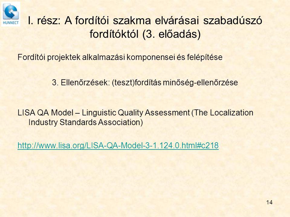 I. rész: A fordítói szakma elvárásai szabadúszó fordítóktól (3. előadás) Fordítói projektek alkalmazási komponensei és felépítése 3. Ellenőrzések: (te