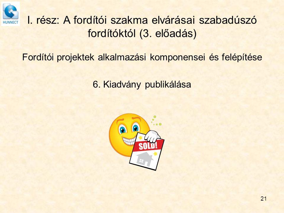 21 I. rész: A fordítói szakma elvárásai szabadúszó fordítóktól (3. előadás) Fordítói projektek alkalmazási komponensei és felépítése 6. Kiadvány publi