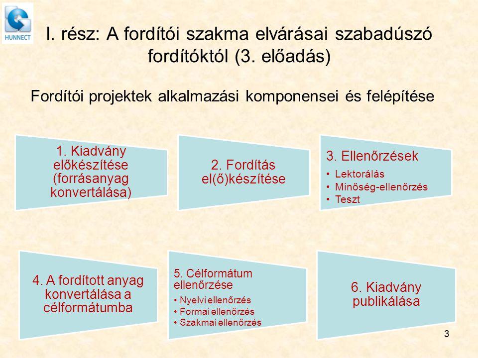 I. rész: A fordítói szakma elvárásai szabadúszó fordítóktól (3. előadás) Fordítói projektek alkalmazási komponensei és felépítése 3 1. Kiadvány előkés