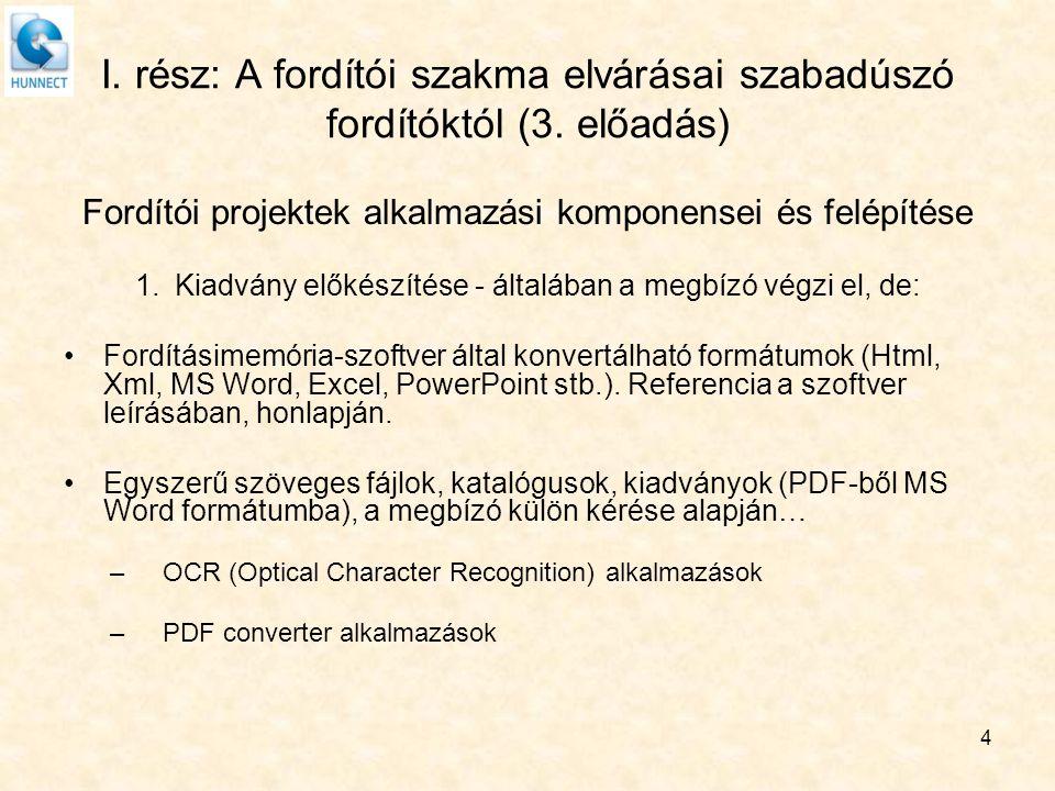 I. rész: A fordítói szakma elvárásai szabadúszó fordítóktól (3. előadás) Fordítói projektek alkalmazási komponensei és felépítése 1.Kiadvány előkészít