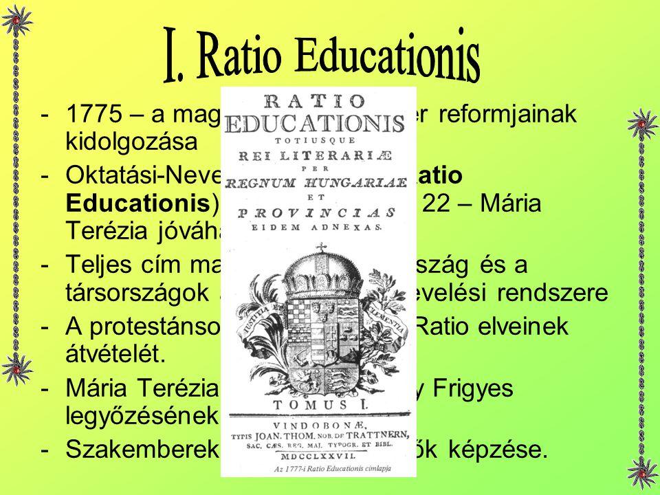 -1775 – a magyar iskolarendszer reformjainak kidolgozása -Oktatási-Nevelési Rendszer (Ratio Educationis) 1777. augusztus 22 – Mária Terézia jóváhagyás