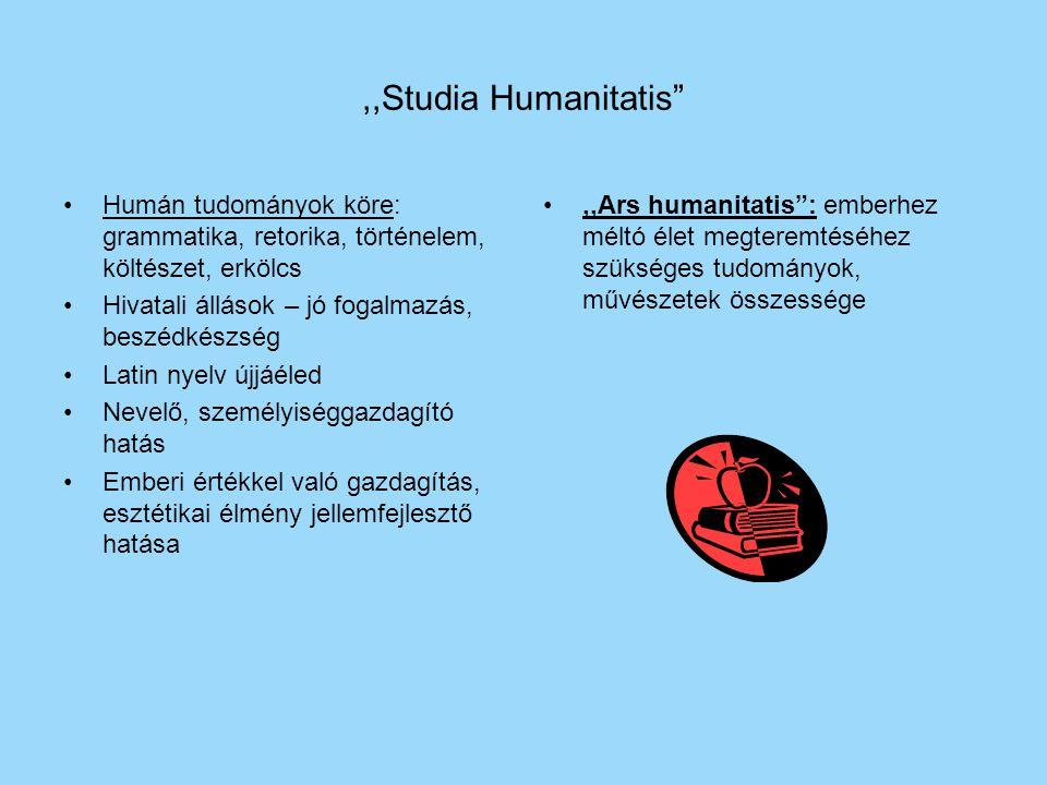 """,,Studia Humanitatis"""" Humán tudományok köre: grammatika, retorika, történelem, költészet, erkölcs Hivatali állások – jó fogalmazás, beszédkészség Lati"""