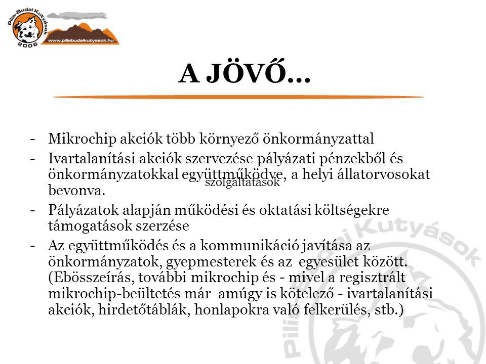 A JÖVŐ… -Mikrochip akciók több környező önkormányzattal -Ivartalanítási akciók szervezése pályázati pénzekből és önkormányzatokkal együttműködve, a helyi állatorvosokat bevonva.