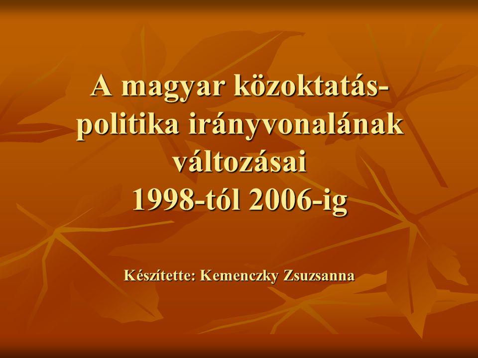 A magyar közoktatás- politika irányvonalának változásai 1998-tól 2006-ig Készítette: Kemenczky Zsuzsanna
