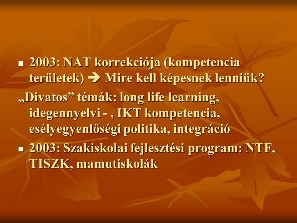 2003: NAT korrekciója (kompetencia területek)  Mire kell képesnek lenniük.