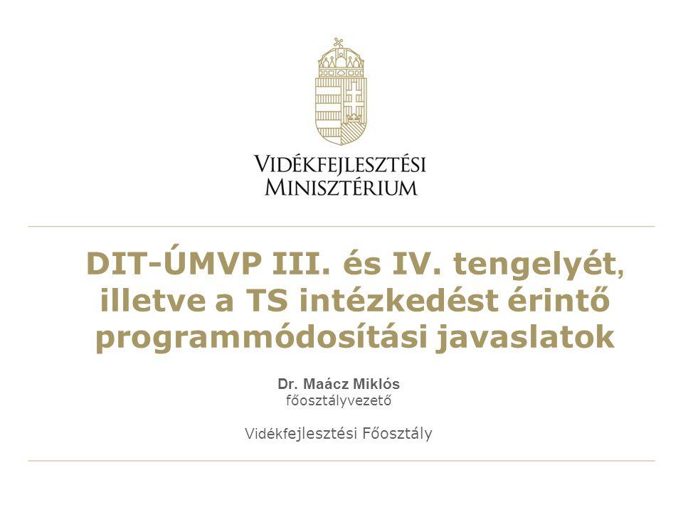 DIT-ÚMVP III. és IV. tengelyét, illetve a TS intézkedést érintő programmódosítási javaslatok Dr.