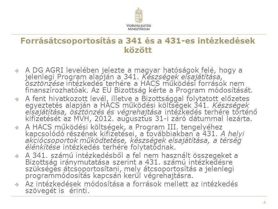 4 Forrásátcsoportosítás a 341 és a 431-es intézkedések között  A DG AGRI levelében jelezte a magyar hatóságok felé, hogy a jelenlegi Program alapján a 341.