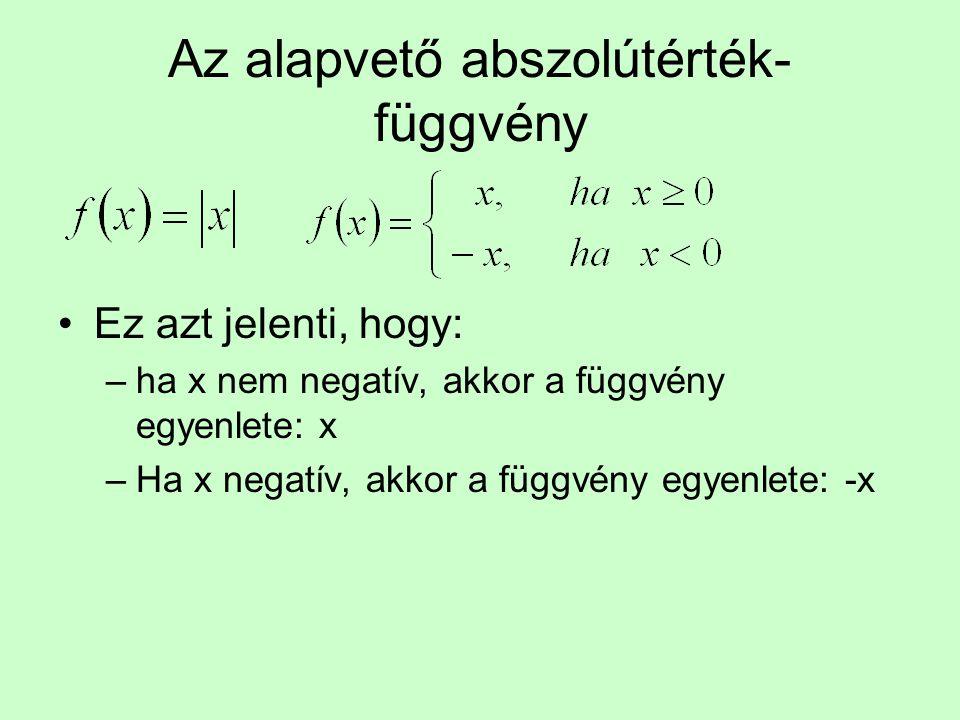 Az alapvető abszolútérték- függvény Ez azt jelenti, hogy: –ha x nem negatív, akkor a függvény egyenlete: x –Ha x negatív, akkor a függvény egyenlete: -x