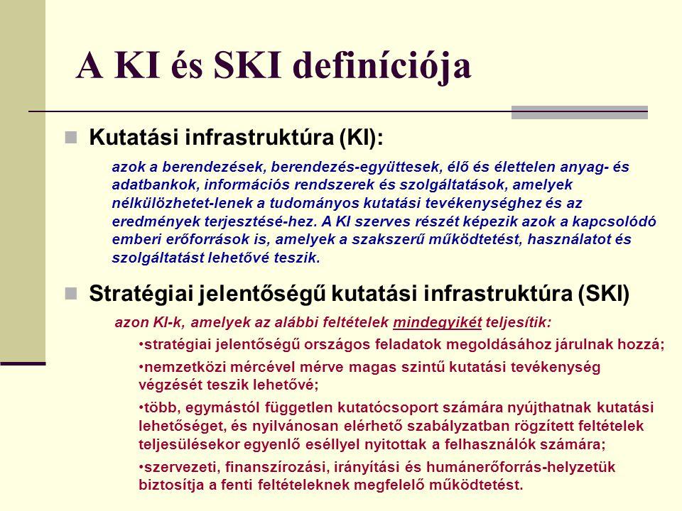 A KI és SKI definíciója Kutatási infrastruktúra (KI): Stratégiai jelentőségű kutatási infrastruktúra (SKI) azok a berendezések, berendezés-együttesek, élő és élettelen anyag- és adatbankok, információs rendszerek és szolgáltatások, amelyek nélkülözhetet-lenek a tudományos kutatási tevékenységhez és az eredmények terjesztésé-hez.