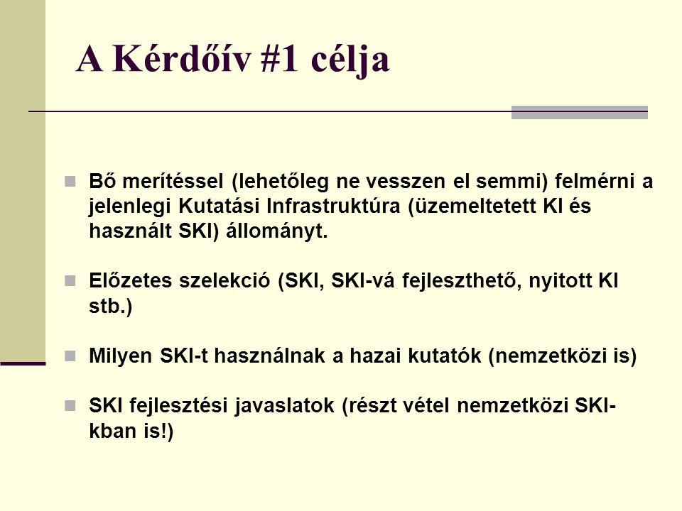 A Kérdőív #1 célja Bő merítéssel (lehetőleg ne vesszen el semmi) felmérni a jelenlegi Kutatási Infrastruktúra (üzemeltetett KI és használt SKI) állományt.