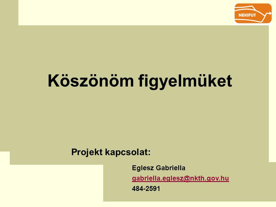 Köszönöm figyelmüket Projekt kapcsolat: Eglesz Gabriella gabriella.eglesz@nkth.gov.hu 484-2591