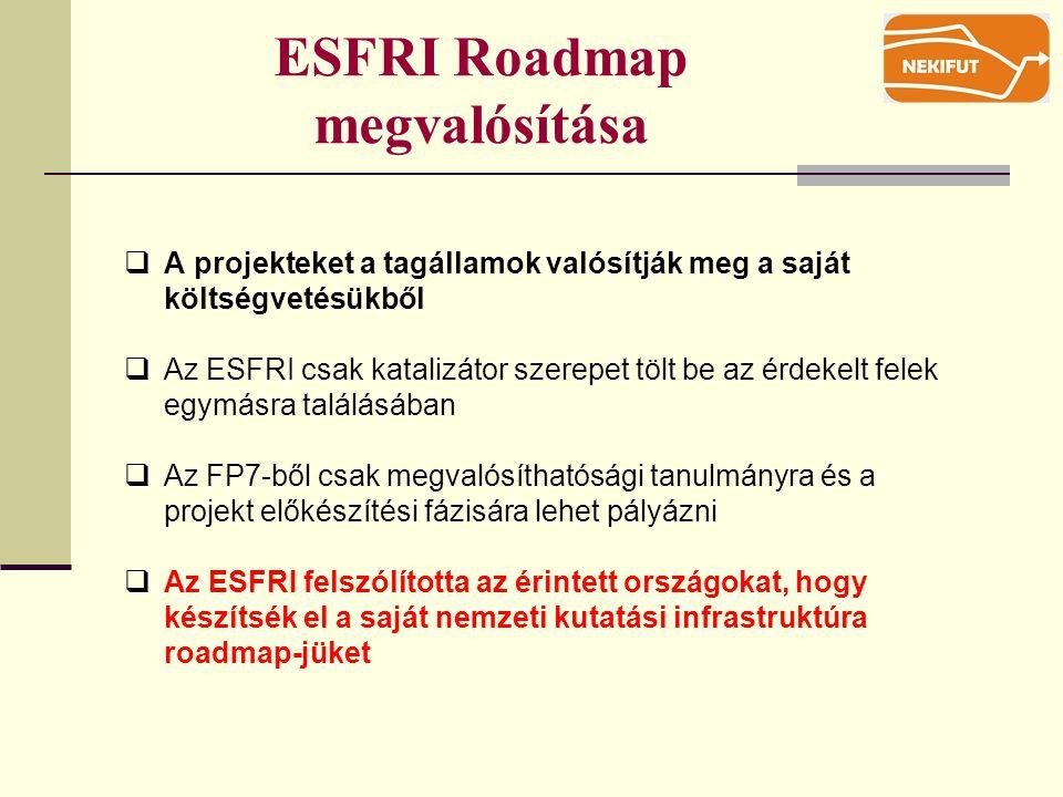 ESFRI Roadmap megvalósítása  A projekteket a tagállamok valósítják meg a saját költségvetésükből  Az ESFRI csak katalizátor szerepet tölt be az érdekelt felek egymásra találásában  Az FP7-ből csak megvalósíthatósági tanulmányra és a projekt előkészítési fázisára lehet pályázni  Az ESFRI felszólította az érintett országokat, hogy készítsék el a saját nemzeti kutatási infrastruktúra roadmap-jüket