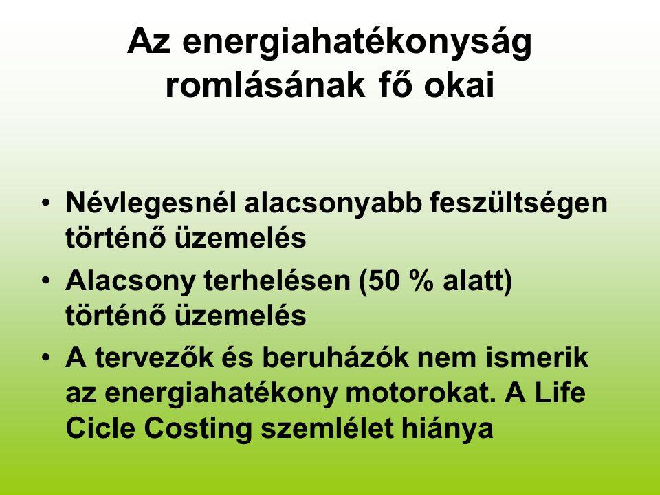 Az energiahatékonyság romlásának fő okai Névlegesnél alacsonyabb feszültségen történő üzemelés Alacsony terhelésen (50 % alatt) történő üzemelés A tervezők és beruházók nem ismerik az energiahatékony motorokat.