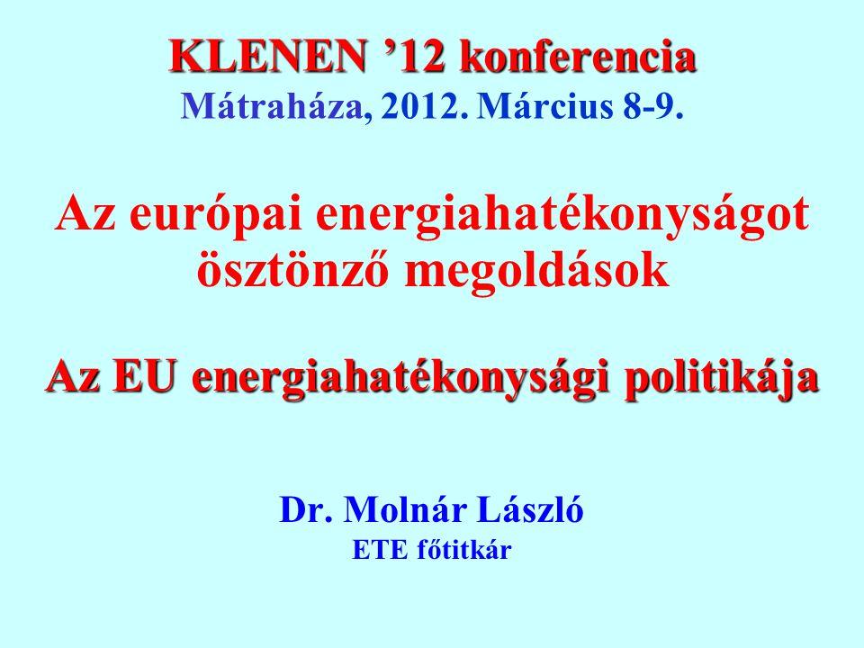KLENEN '12 konferencia KLENEN '12 konferencia Mátraháza, 2012. Március 8-9. Az európai energiahatékonyságot ösztönző megoldások Az EU energiahatékonys