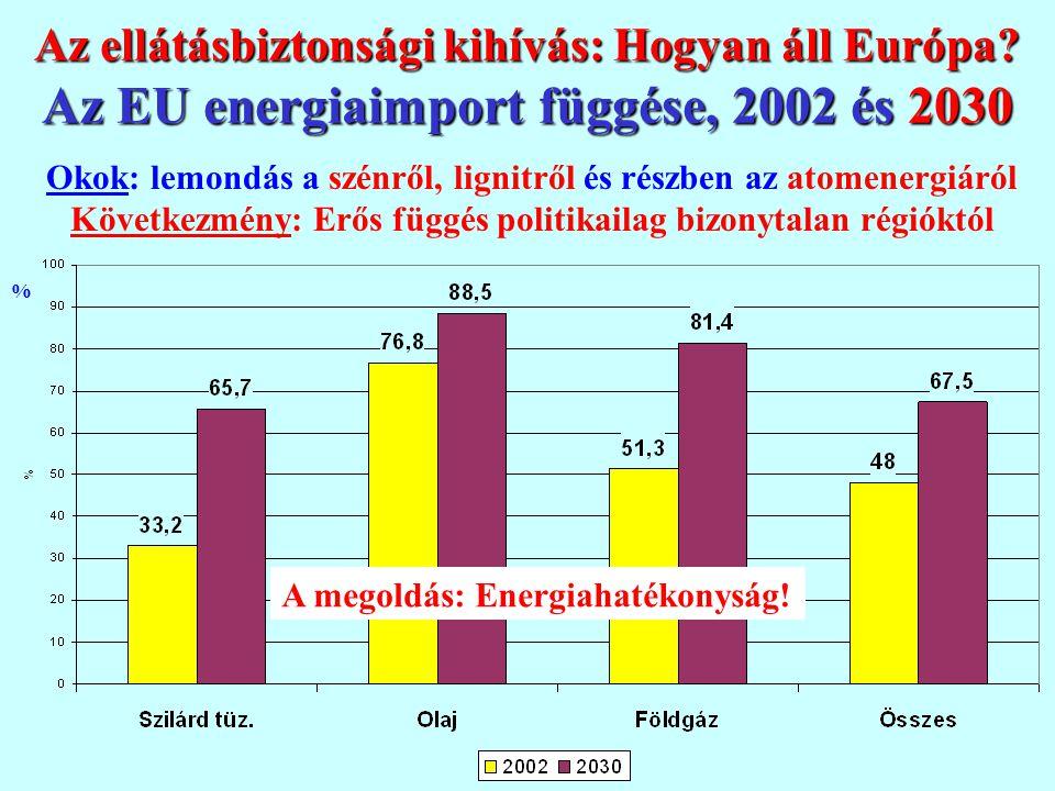 Az ellátásbiztonsági kihívás: Hogyan áll Európa? Az EU energiaimport függése, 2002 és 2030 % Okok: lemondás a szénről, lignitről és részben az atomene