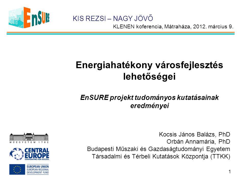 Energiahatékony városfejlesztés lehetőségei EnSURE projekt tudományos kutatásainak eredményei Kocsis János Balázs, PhD Orbán Annamária, PhD Budapesti