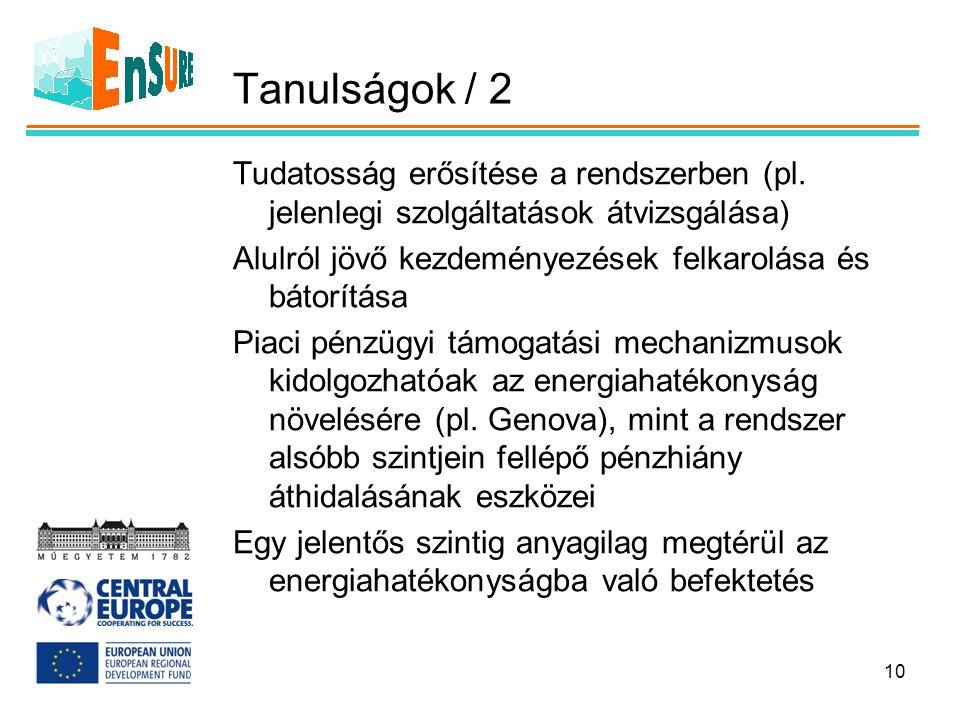 Tanulságok / 2 Tudatosság erősítése a rendszerben (pl. jelenlegi szolgáltatások átvizsgálása) Alulról jövő kezdeményezések felkarolása és bátorítása P