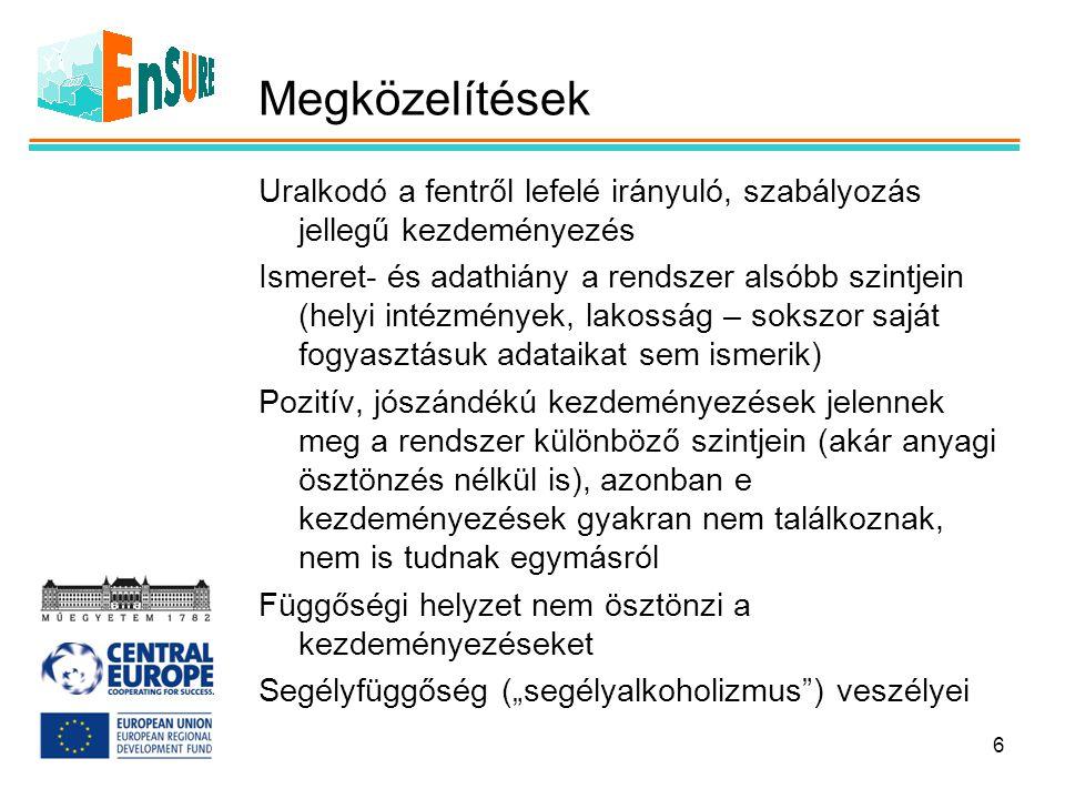 Megközelítések Uralkodó a fentről lefelé irányuló, szabályozás jellegű kezdeményezés Ismeret- és adathiány a rendszer alsóbb szintjein (helyi intézmén