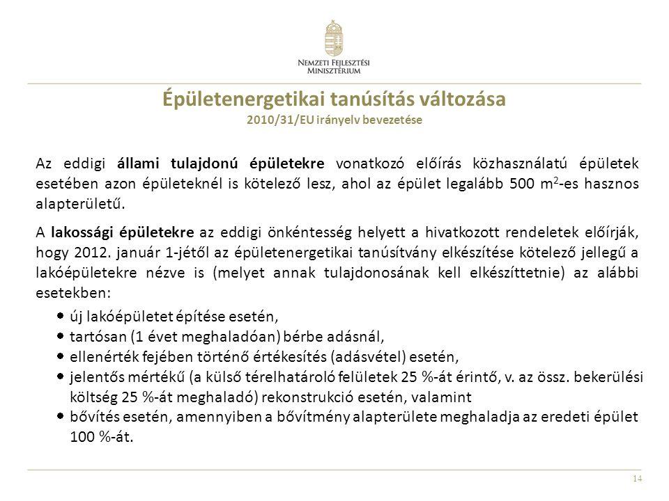 14 Épületenergetikai tanúsítás változása 2010/31/EU irányelv bevezetése Az eddigi állami tulajdonú épületekre vonatkozó előírás közhasználatú épületek