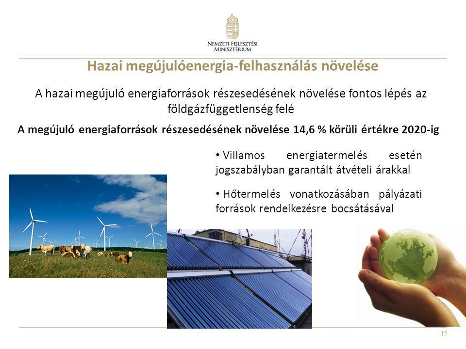 15 Hazai megújulóenergia-felhasználás növelése Villamos energiatermelés esetén jogszabályban garantált átvételi árakkal Hőtermelés vonatkozásában pály