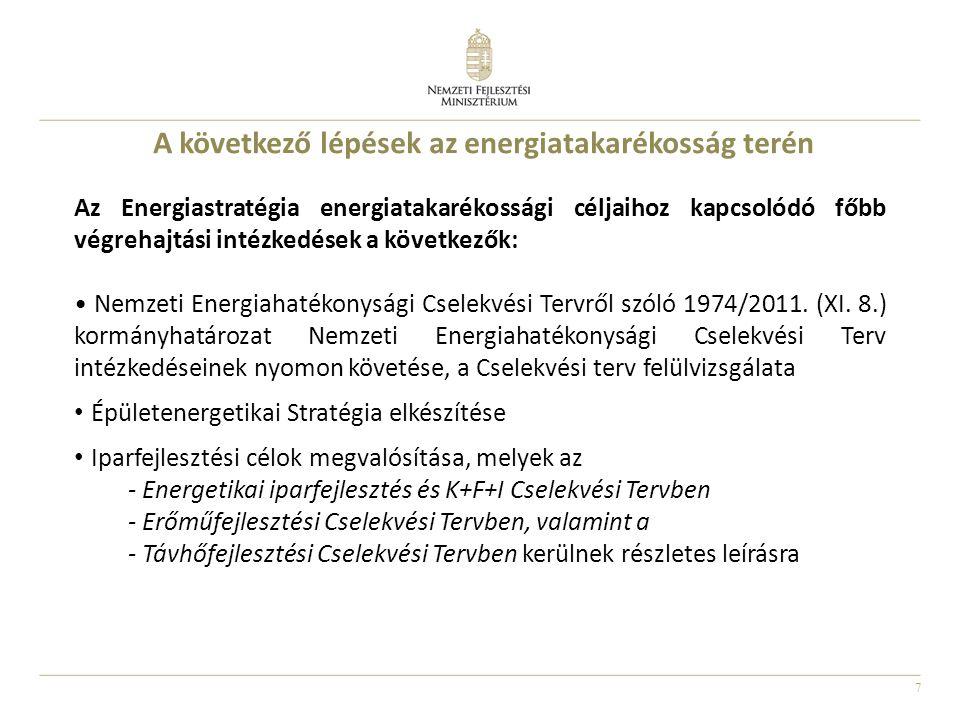 7 Az Energiastratégia energiatakarékossági céljaihoz kapcsolódó főbb végrehajtási intézkedések a következők: Nemzeti Energiahatékonysági Cselekvési Te