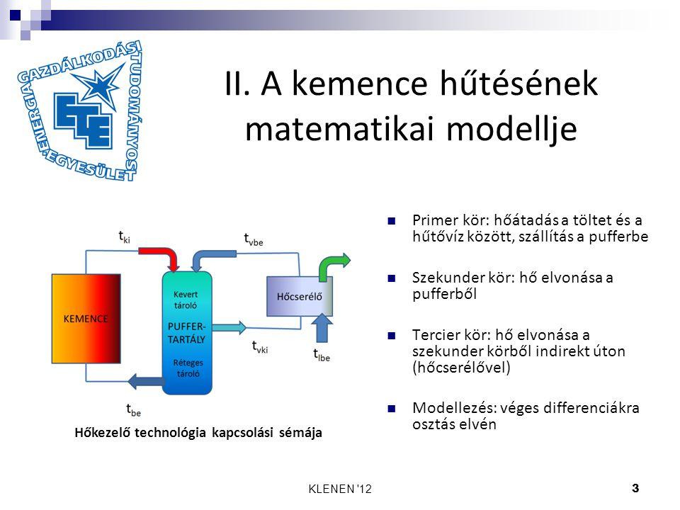 KLENEN '123 II. A kemence hűtésének matematikai modellje Hőkezelő technológia kapcsolási sémája Primer kör: hőátadás a töltet és a hűtővíz között, szá