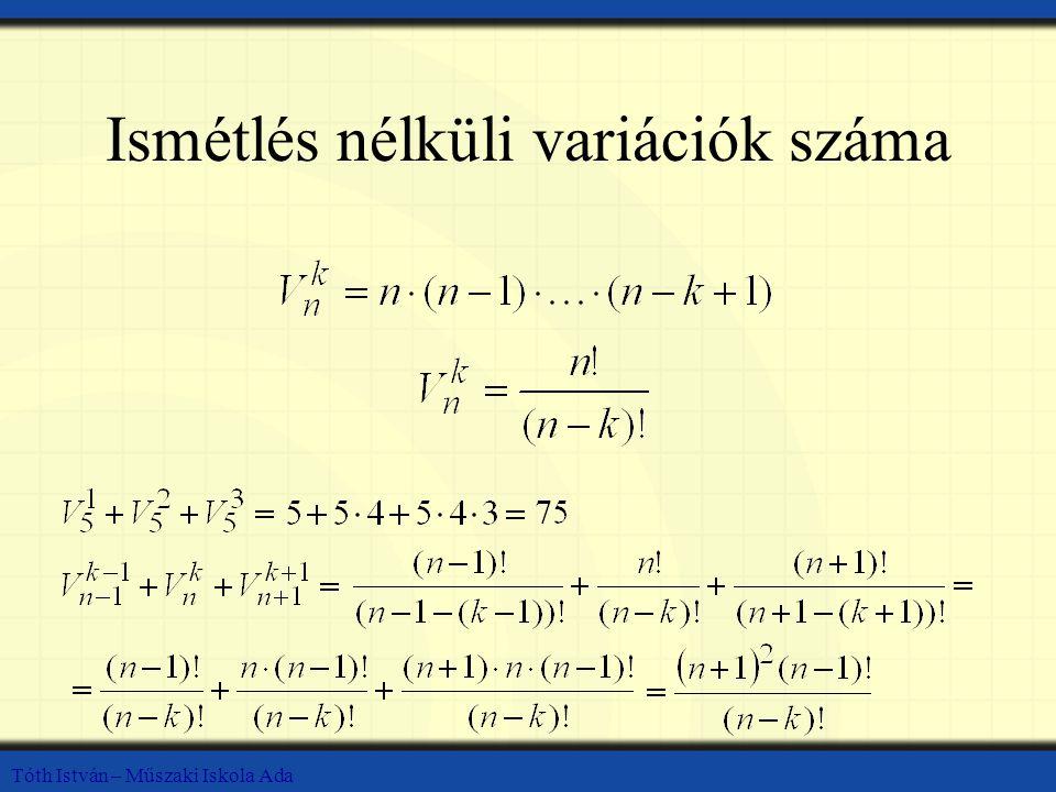Tóth István – Műszaki Iskola Ada Ismétlés nélküli variációk száma