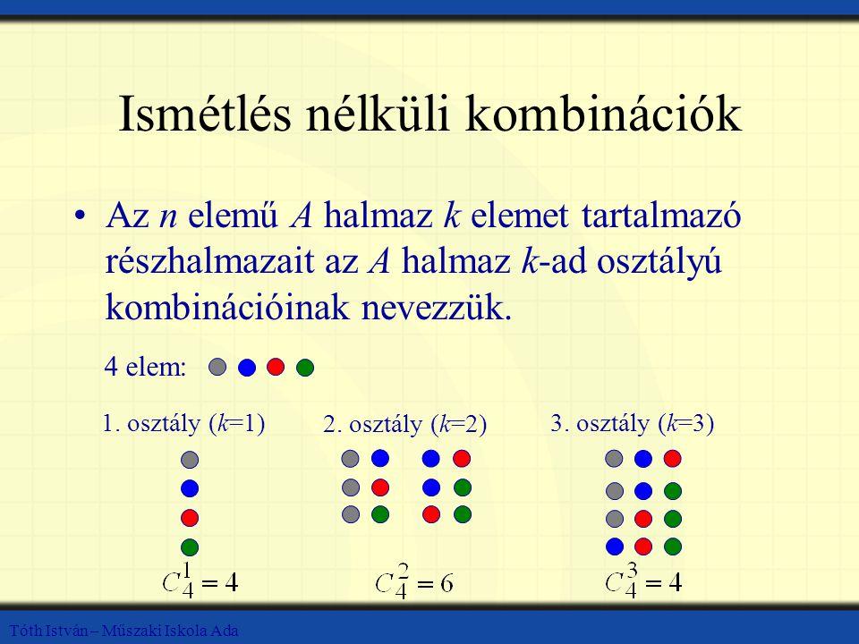 Tóth István – Műszaki Iskola Ada Ismétlés nélküli kombinációk Az n elemű A halmaz k elemet tartalmazó részhalmazait az A halmaz k-ad osztályú kombinációinak nevezzük.