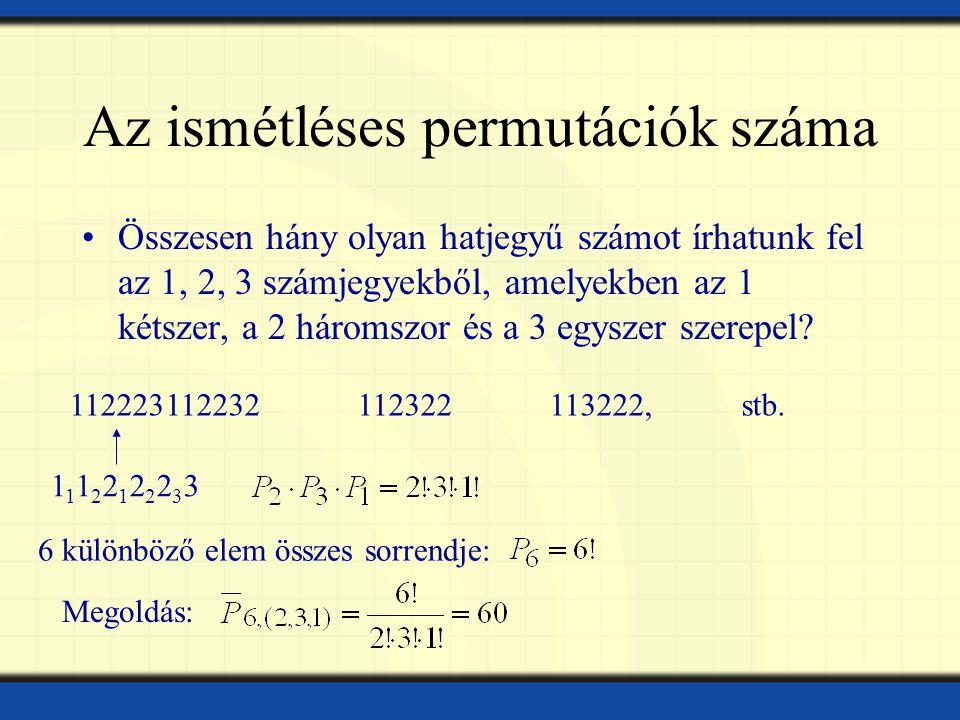 Az ismétléses permutációk száma Összesen hány olyan hatjegyű számot írhatunk fel az 1, 2, 3 számjegyekből, amelyekben az 1 kétszer, a 2 háromszor és a 3 egyszer szerepel.