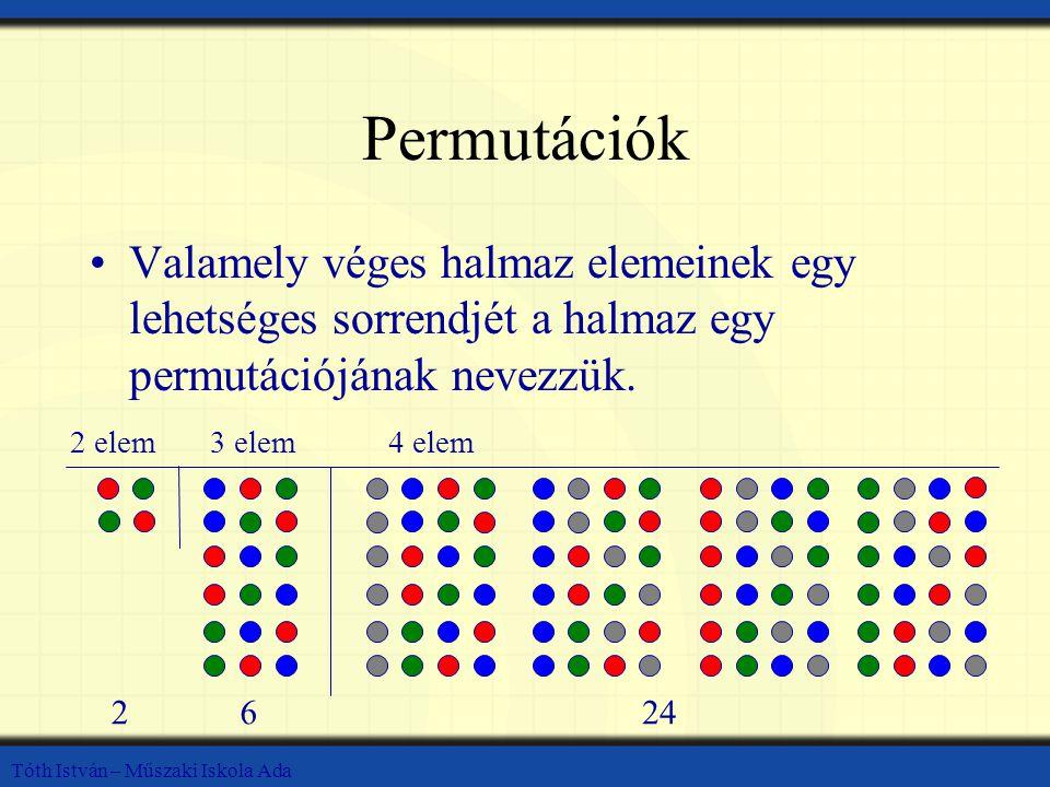 Tóth István – Műszaki Iskola Ada Permutációk Valamely véges halmaz elemeinek egy lehetséges sorrendjét a halmaz egy permutációjának nevezzük.