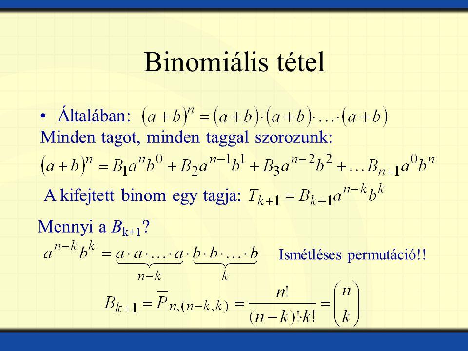 Binomiális tétel Általában: Minden tagot, minden taggal szorozunk: A kifejtett binom egy tagja: Mennyi a B k+1 .