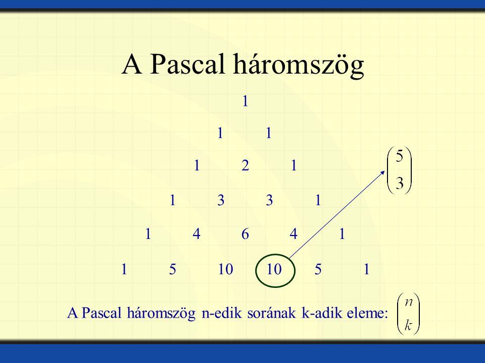 A Pascal háromszög 11 121121 13311331 1464114641 15101051 A Pascal háromszög n-edik sorának k-adik eleme: