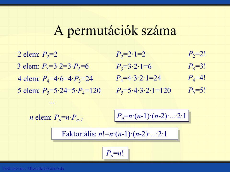 Tóth István – Műszaki Iskola Ada A permutációk száma 2 elem: P 2 =2 3 elem: P 3 =3·2=3·P 2 =6 4 elem: P 4 =4·6=4·P 3 =24 5 elem: P 5 =5·24=5·P 4 =120...