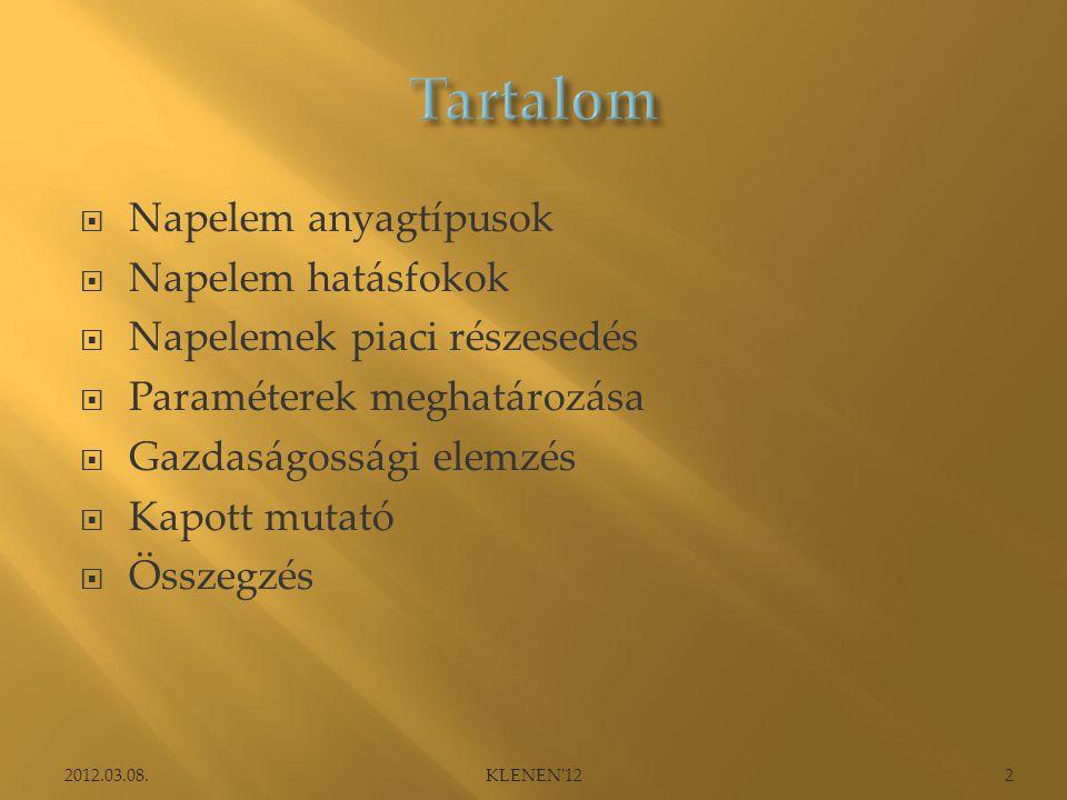  Napelem anyagtípusok  Napelem hatásfokok  Napelemek piaci részesedés  Paraméterek meghatározása  Gazdaságossági elemzés  Kapott mutató  Összegzés 2012.03.08.2KLENEN 12