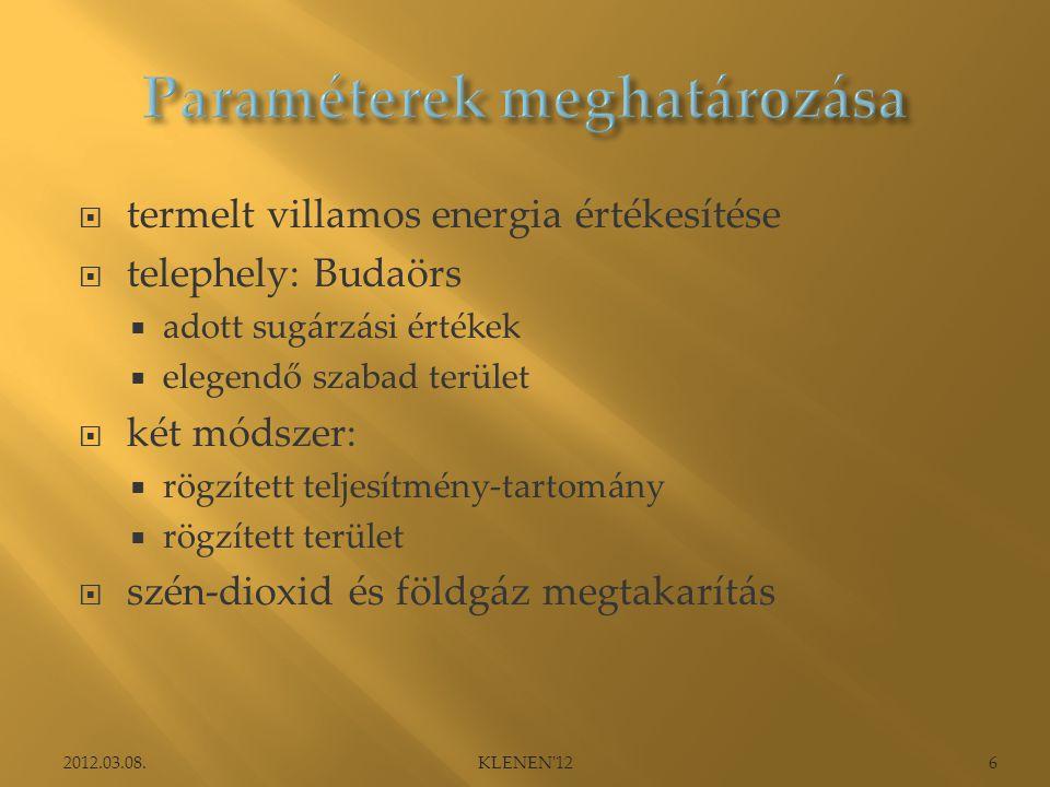  termelt villamos energia értékesítése  telephely: Budaörs  adott sugárzási értékek  elegendő szabad terület  két módszer:  rögzített teljesítmény-tartomány  rögzített terület  szén-dioxid és földgáz megtakarítás 2012.03.08.6KLENEN 12