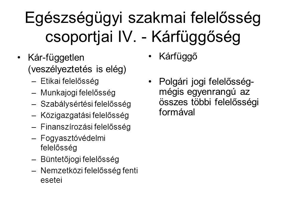 Egészségügyi szakmai felelősség csoportjai IV.